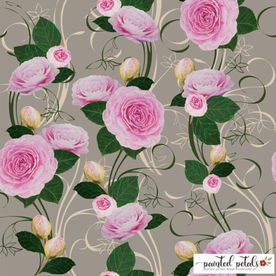 Watercolor Pink Camellia Surface Pattern Design
